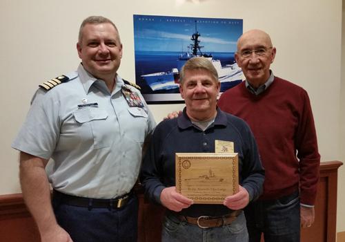 USCG Capt. Robert Hendrikson, Exalted Ruler Dean Seaquist, Nick Pereira
